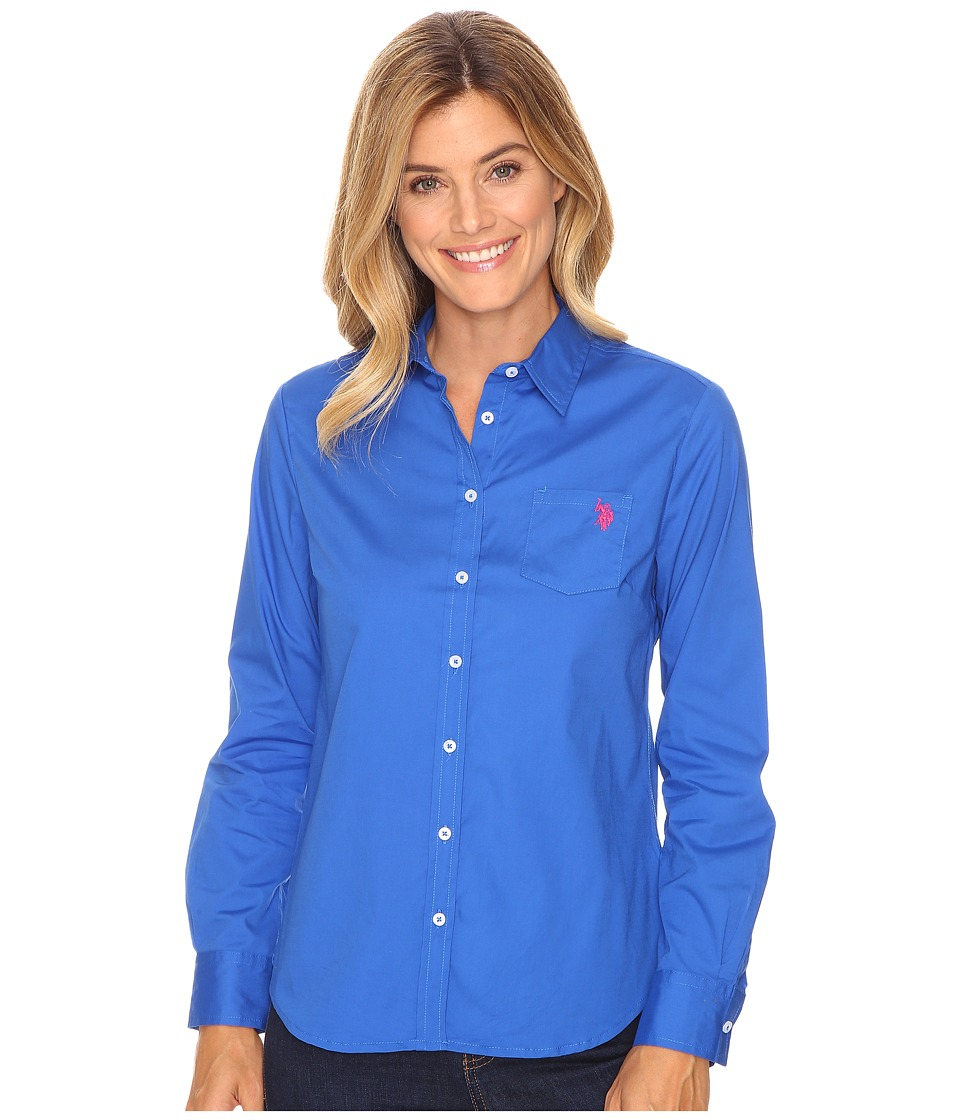 U.S. POLO ASSN. - Solid Single Pocket Long Sleeve Shirt (Nautical Blue) Women's Long Sleeve Button Up