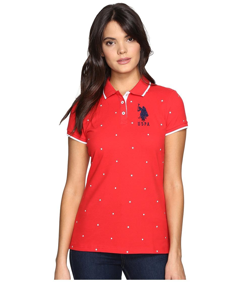 U.S. POLO ASSN. - Print Pique Polo (Tomato) Women's Clothing
