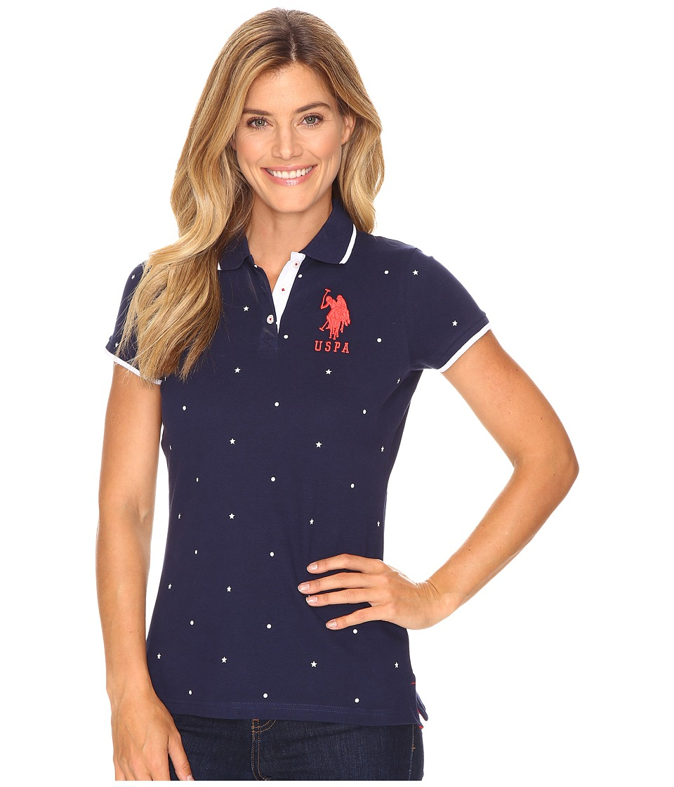 U.S. POLO ASSN. - Print Pique Polo (Navy/Red) Women's Clothing