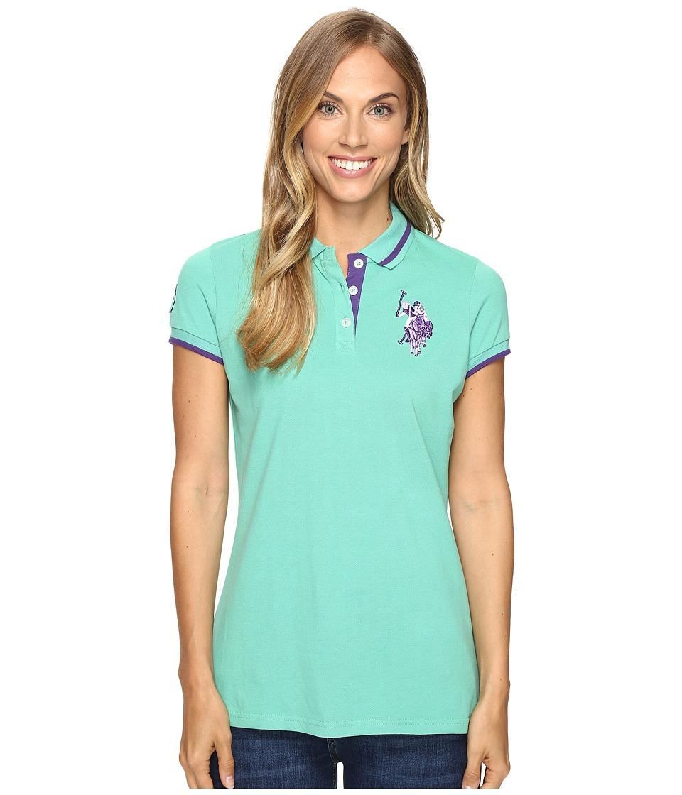 U.S. POLO ASSN. - Solid Pique Polo Shirt (Marine Green) Women's Short Sleeve Knit