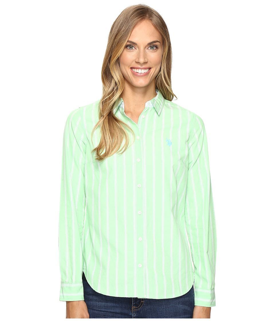 U.S. POLO ASSN. - Striped Poplin Shirt (Summer Green) Women's Clothing