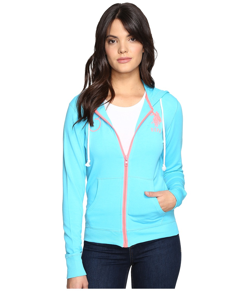 U.S. POLO ASSN. - Neon Pop French Terry Hoodie (Blue Atoll) Women's Sweatshirt