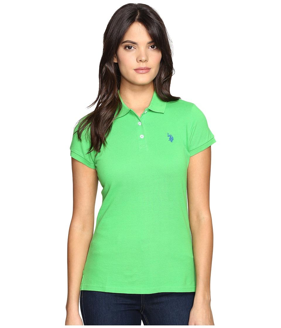 U.S. POLO ASSN. - Solid Pique Polo (Classic Green/Nautical Blue) Women's Short Sleeve Knit