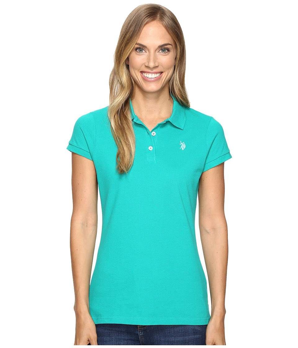 U.S. POLO ASSN. - Solid Pique Polo (Green/Blue) Women's Short Sleeve Knit