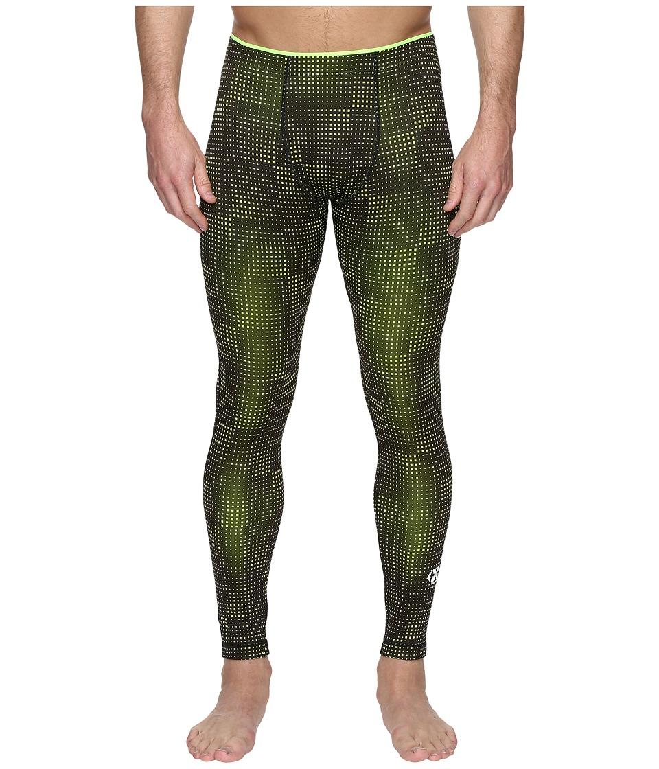 2(X)IST - Modern Sport Performance Leggings (Black/Neon Yellow) Men's Casual Pants