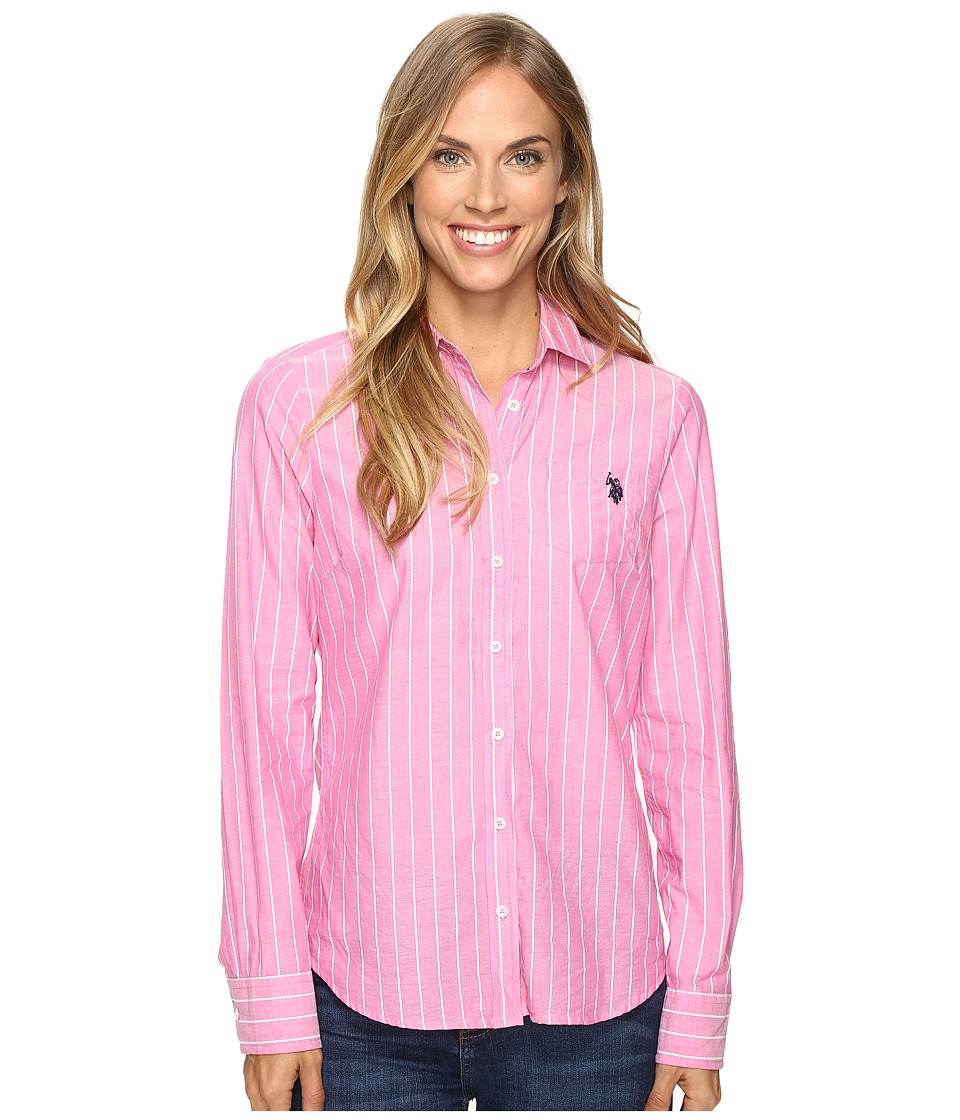 U.S. POLO ASSN. - Pencil Stripe Long Sleeve Woven Shirt (Magenta) Women's Clothing