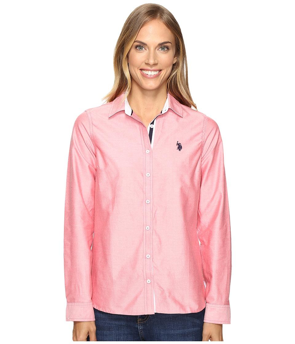 U.S. POLO ASSN. - Long Sleeve Solid Oxford Shirt (Hibiscus) Women's Long Sleeve Button Up