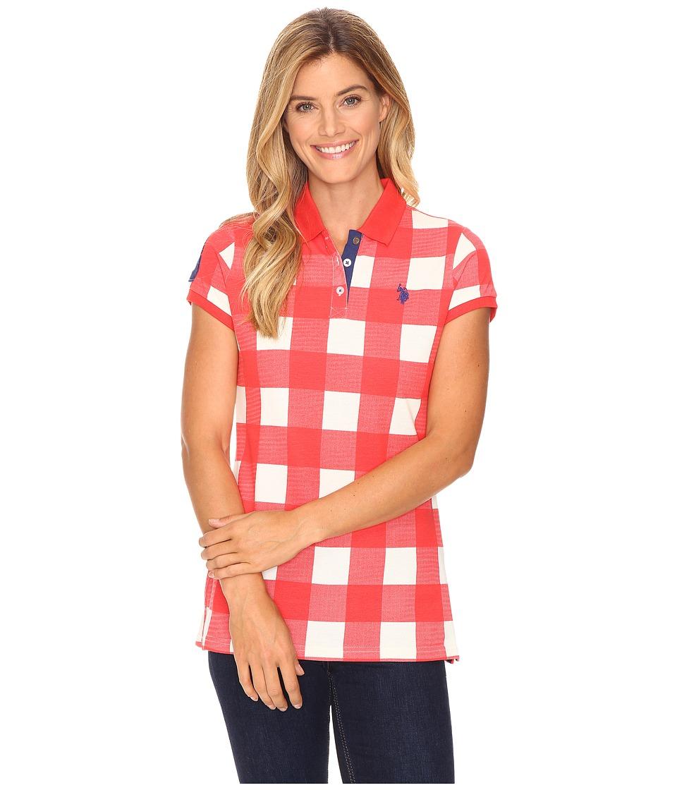 U.S. POLO ASSN. - Short Sleeve Check Pique Polo Shirt (Poinsettia) Women's Clothing