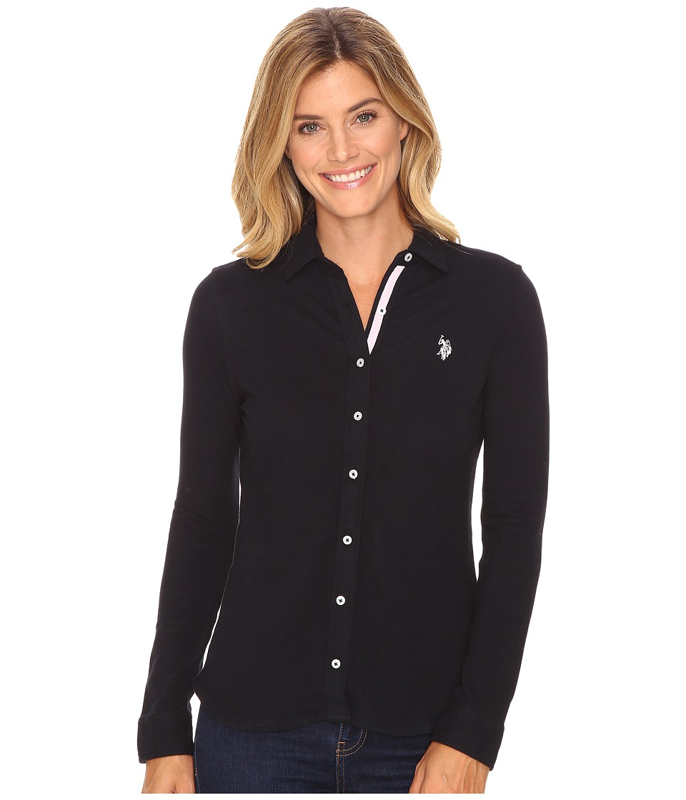 U.S. POLO ASSN. - Knit Pique Button Up Shirt (Anthracite) Women's Clothing