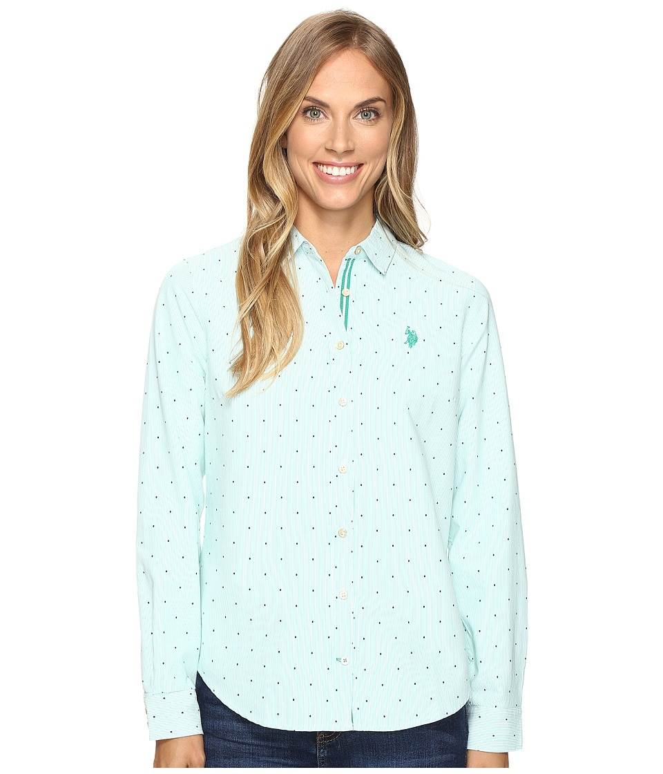 U.S. POLO ASSN. - Dot Print Oxford Shirt (Peacock Green) Women's Clothing