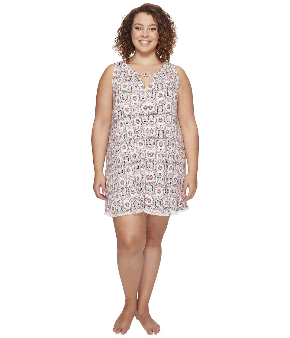 Lucky Brand - Plus Size Pleat Front Flare Slip (Sylvia Paisley Border Faced Rose) Women's Pajama