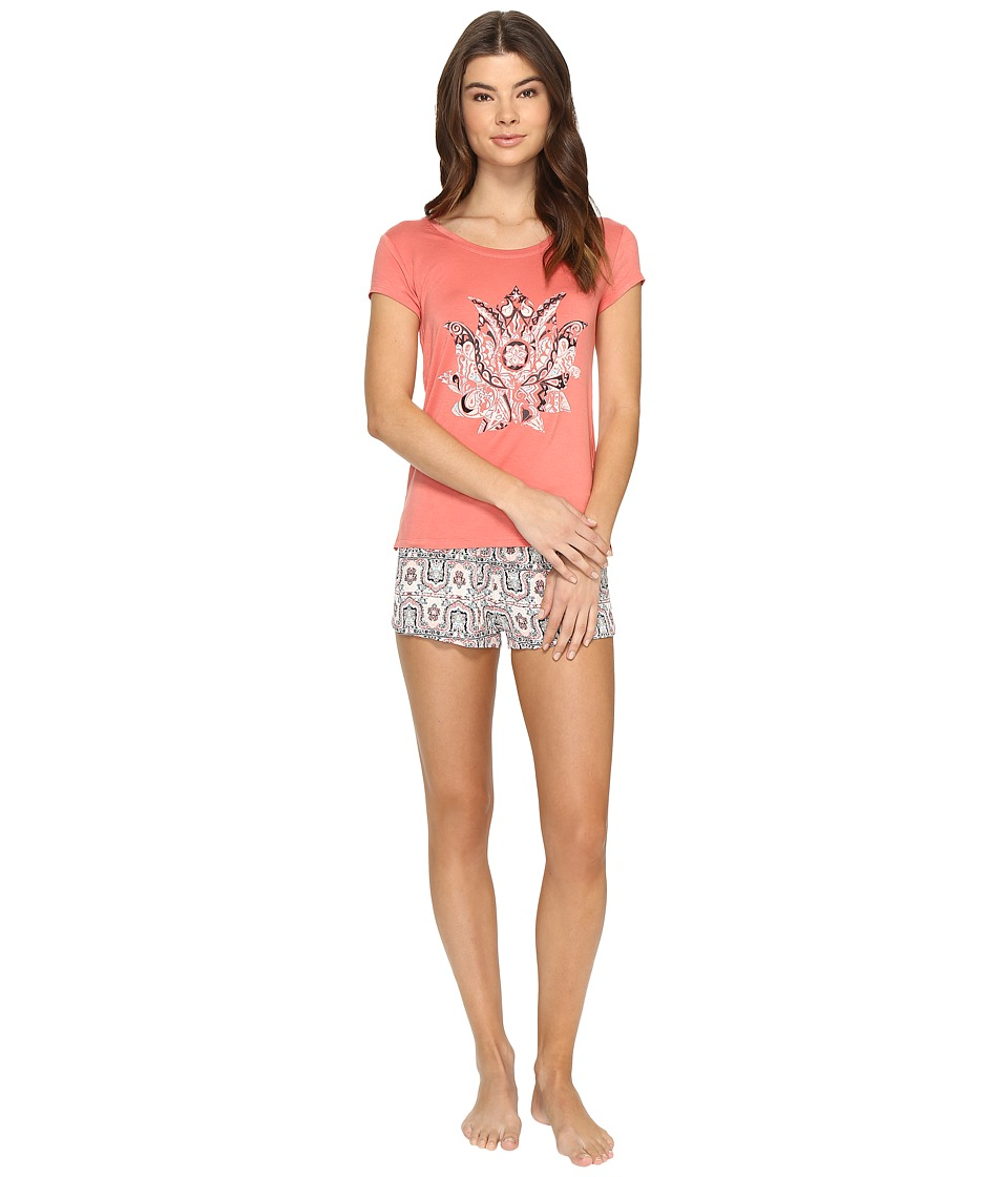 Lucky Brand - Graphics Tee Jay (Sylvia Paisley Border Faced Rose) Women's Pajama Sets