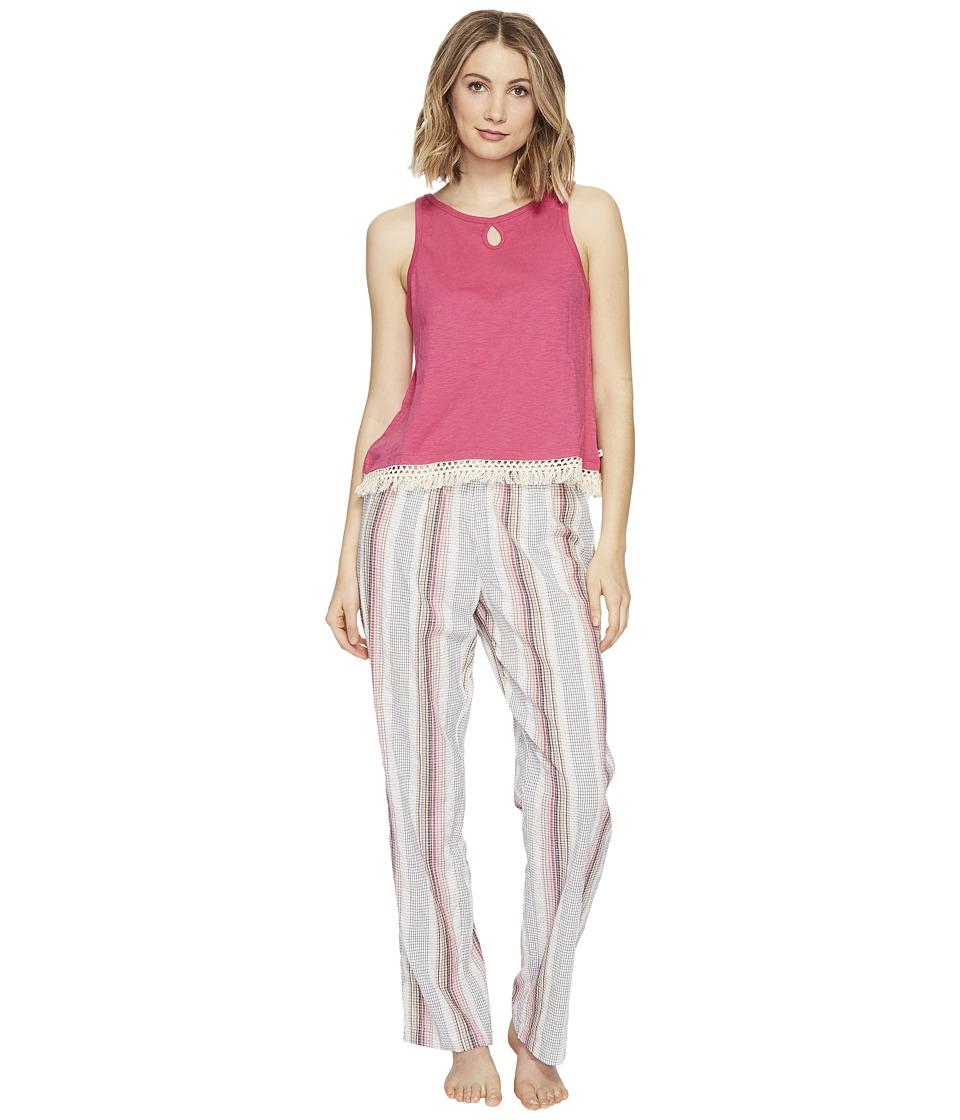 Lucky Brand - Cotton Fringe Tee Jay (Romantic Stripes) Women's Pajama Sets