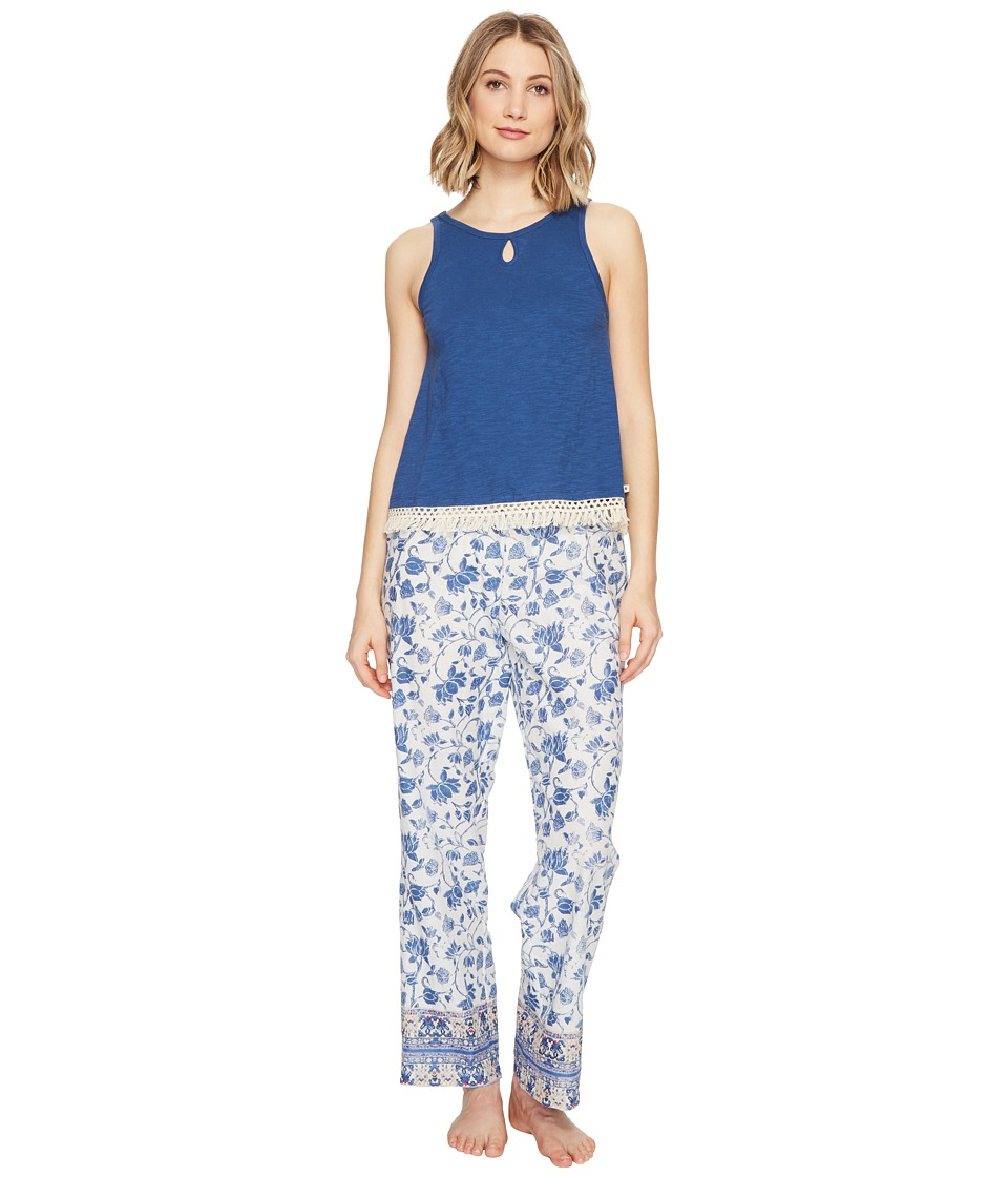 Lucky Brand - Cotton Fringe Tee Jay (Blue Parina Floral) Women's Pajama Sets