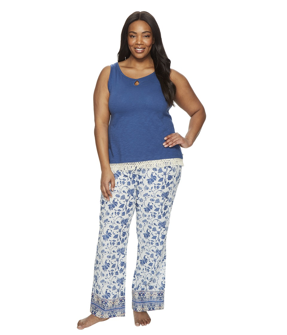 Lucky Brand - Plus Size Cotton Fringe Tee Jay (Blue Parina Floral) Women's Pajama Sets