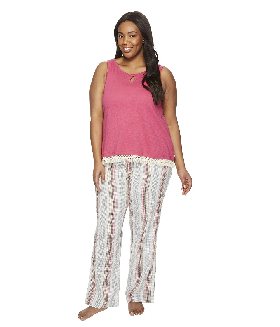Lucky Brand - Plus Size Cotton Fringe Tee Jay (Romantic Stripes) Women's Pajama Sets
