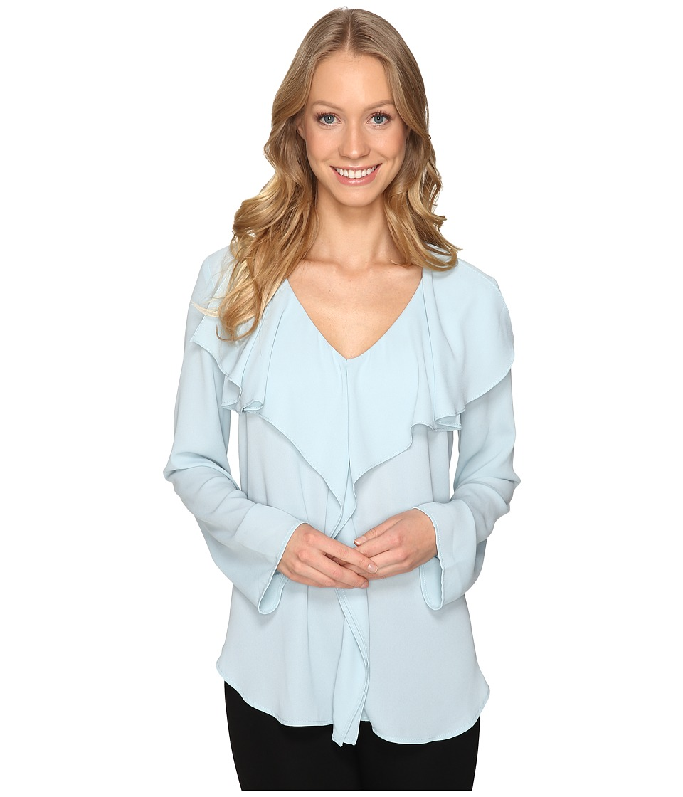 Karen Kane - Flare Sleeve Ruffle Blouse (Ice Blue) Women's Blouse