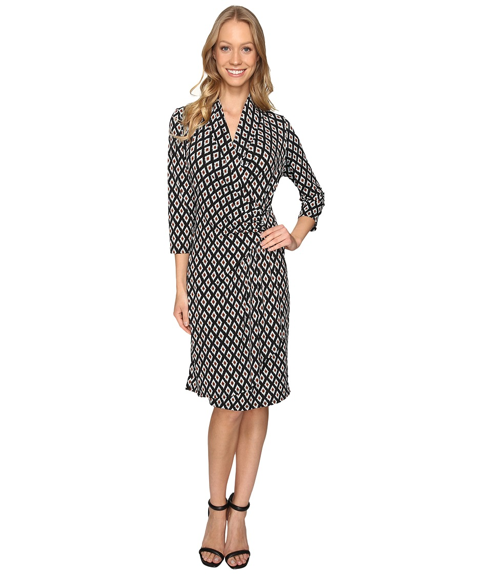 Karen Kane 3/4 Sleeve Cascade Wrap Dress (Print) Women