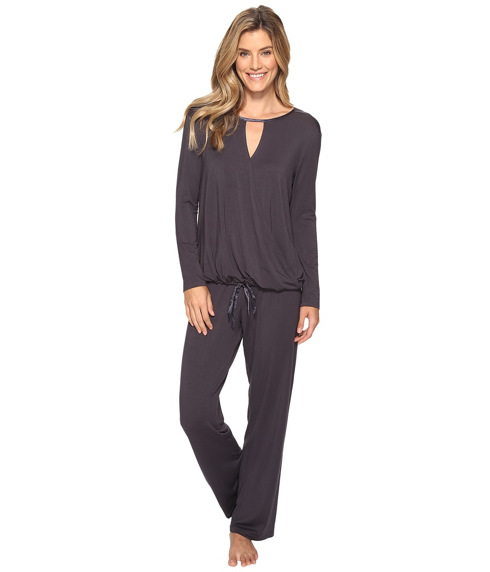 Midnight by Carole Hochman - Modal Long Sleeve PJ (Grey) Women's Pajama Sets