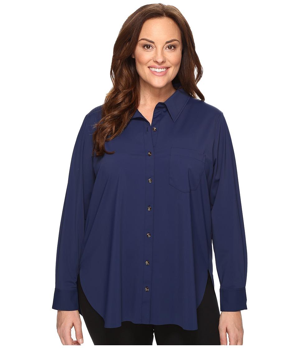 Lysse - Plus Size Schiffer Stretch Button Down (Midnight) Women's Clothing