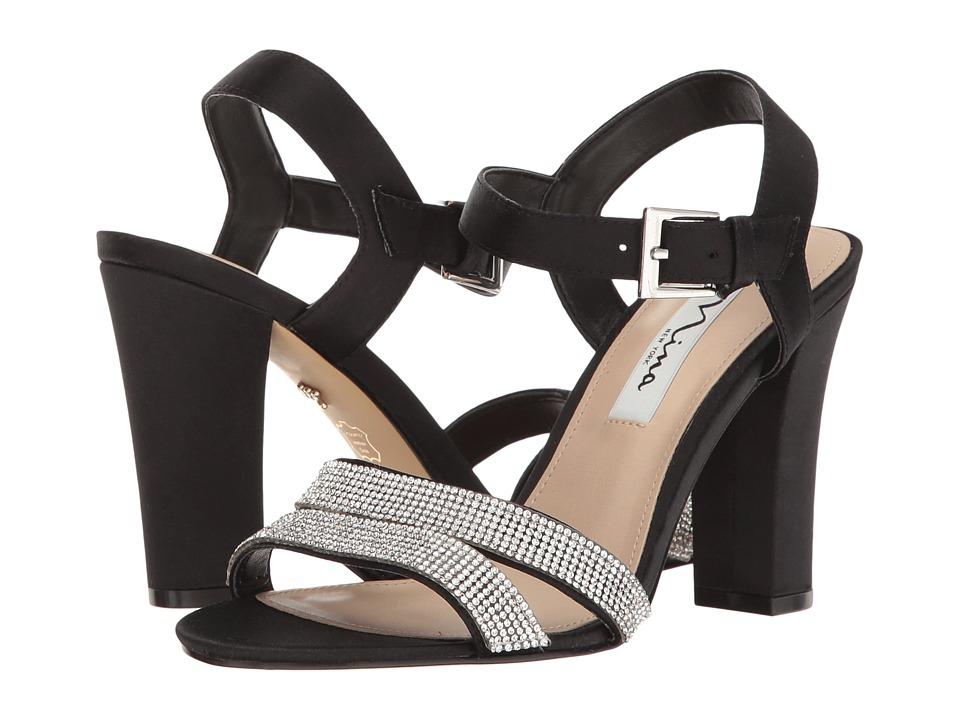 Nina - Sylvie (Black Luster Satin) High Heels