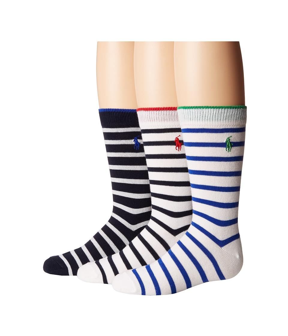 Polo Ralph Lauren - Nautical 3-Pack - Tipped Stripe (Toddler/Little Kid) (White/Navy) Men's Crew Cut Socks Shoes