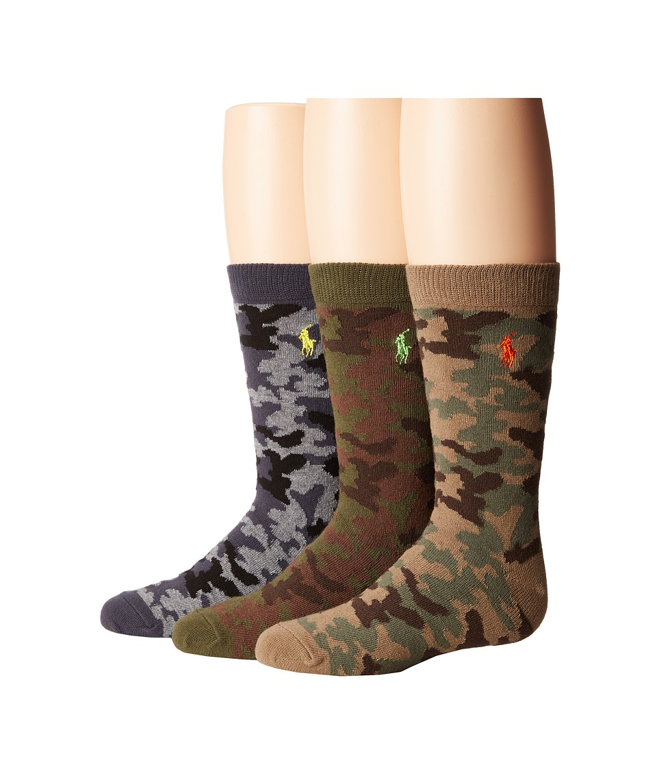 Polo Ralph Lauren - Camo 3-Pack (Toddler/Little Kid) (Olive) Men's Crew Cut Socks Shoes