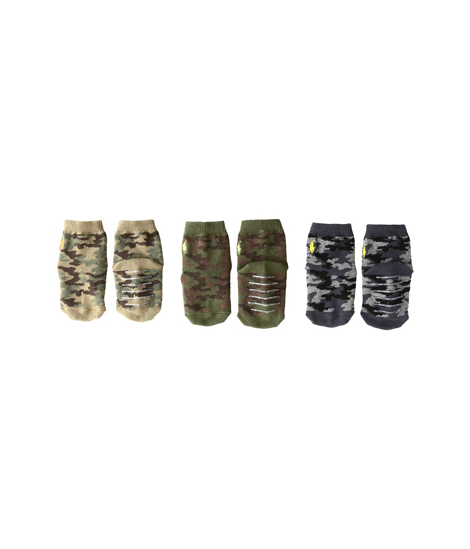 Polo Ralph Lauren - Camo 3-Pack (Infant) (Olive) Men's Crew Cut Socks Shoes
