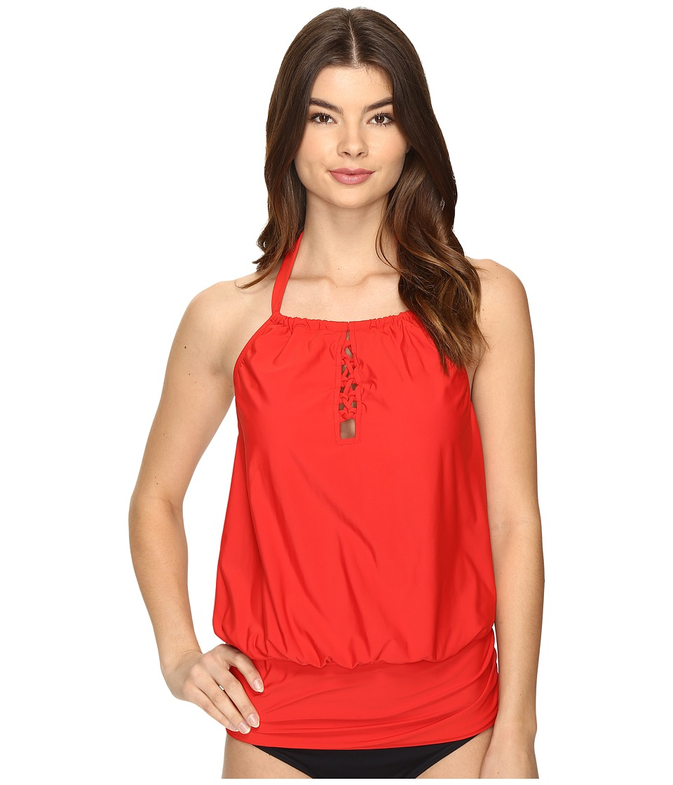 Athena Cabana Solids Cailyn High Neck Tankini Top (Persimmon) Women