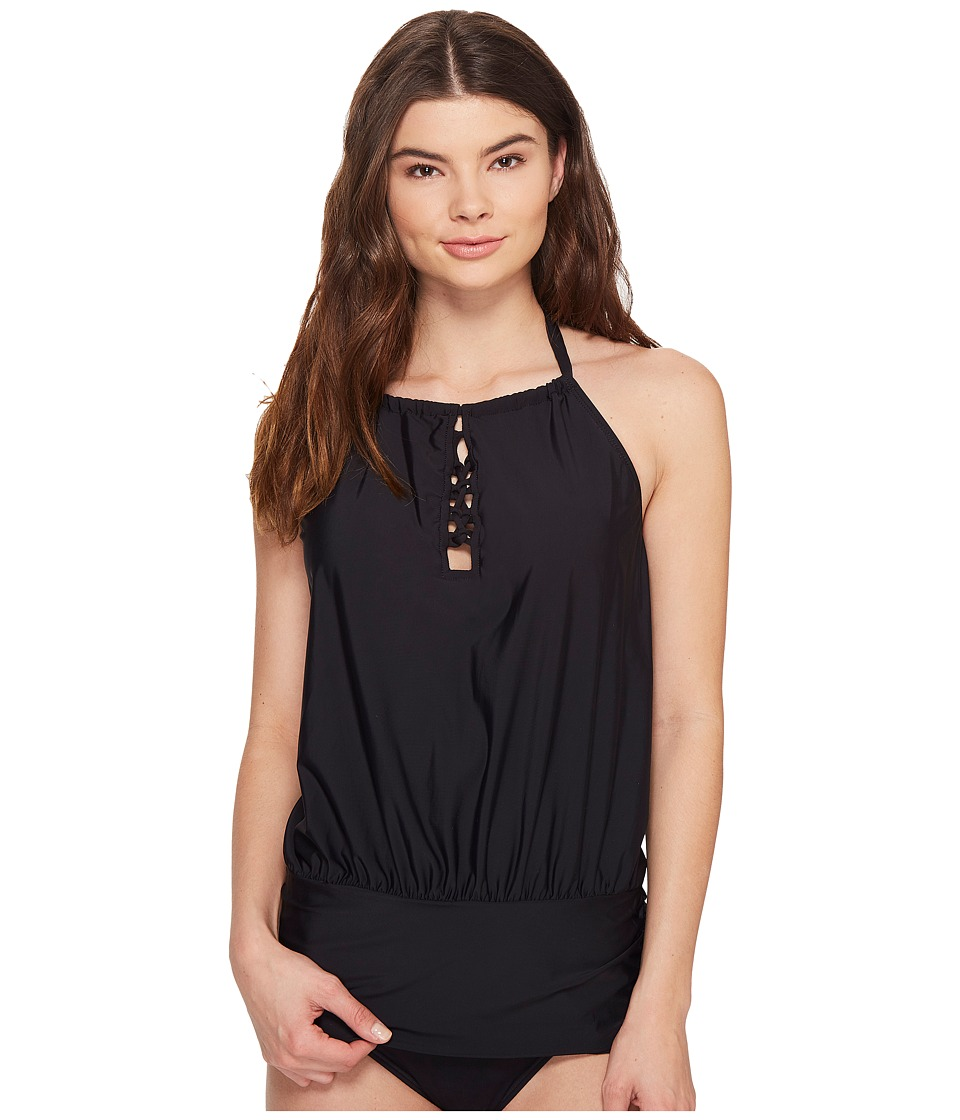 Athena Cabana Solids Cailyn High Neck Tankini Top (Black) Women