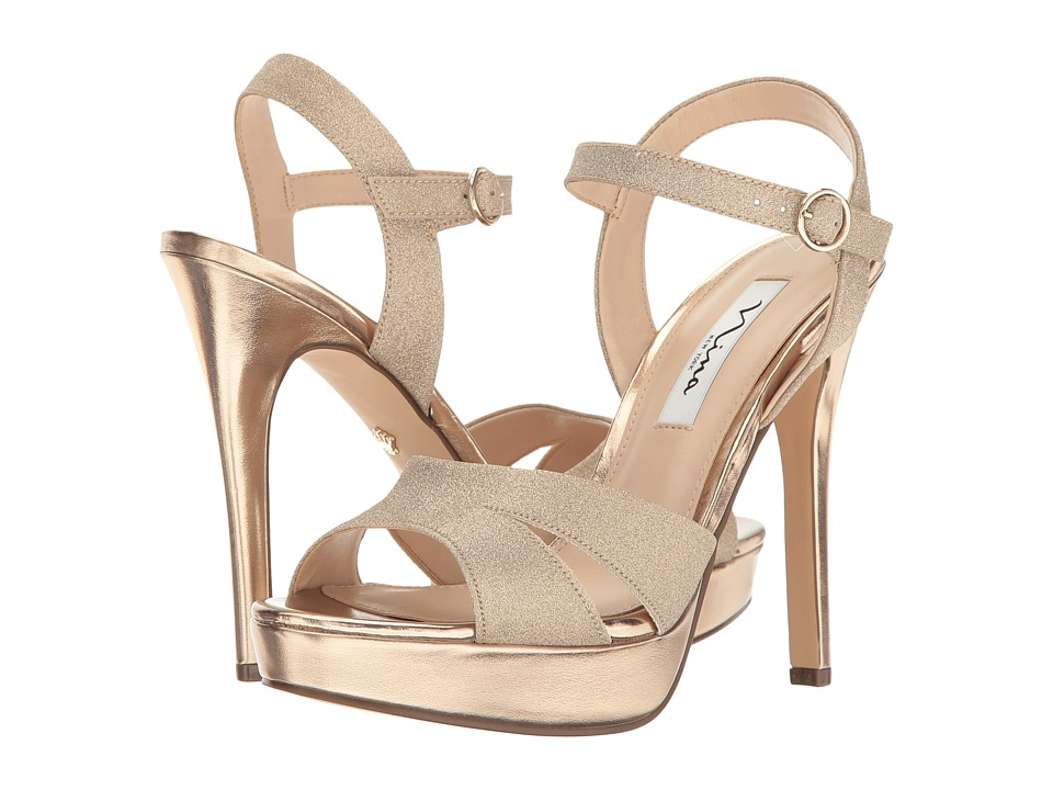 Nina - Shara (Gold Glitter Vinyl) Women's Sandals