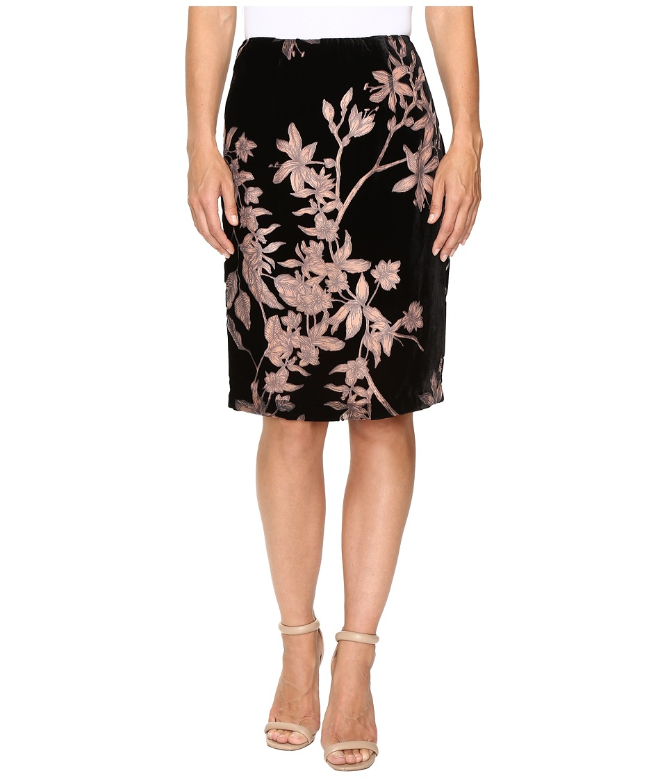 Ivanka Trump - Floral Burnout Velvet Knee Length Skirt (Black/Ballet) Women's Skirt