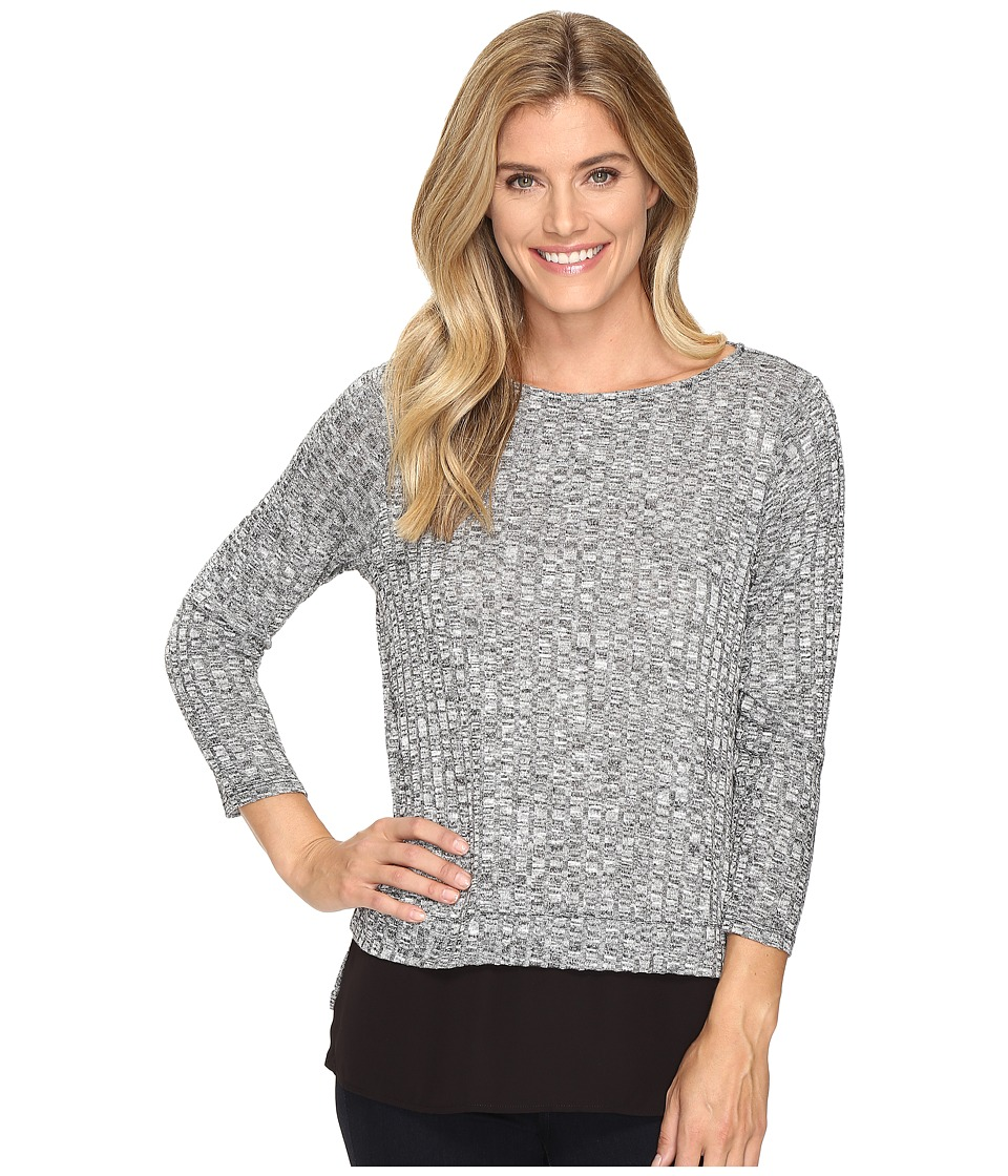 Ivanka Trump - Marled Knit Top with Georgette Hem (Black/Ivory) Women's Clothing