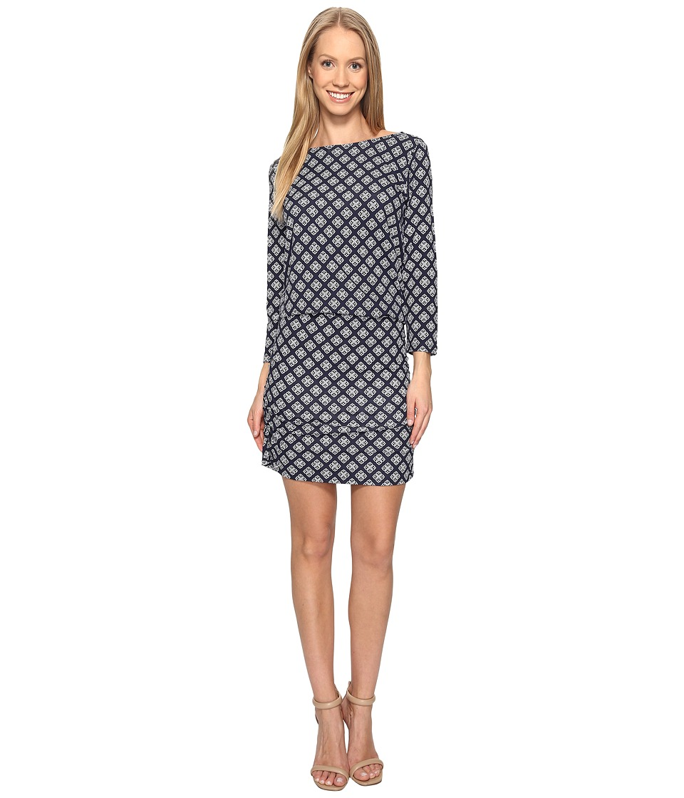 Hatley Boat Neck Ruched Dress (Mini Floral Droplet Navy) Women