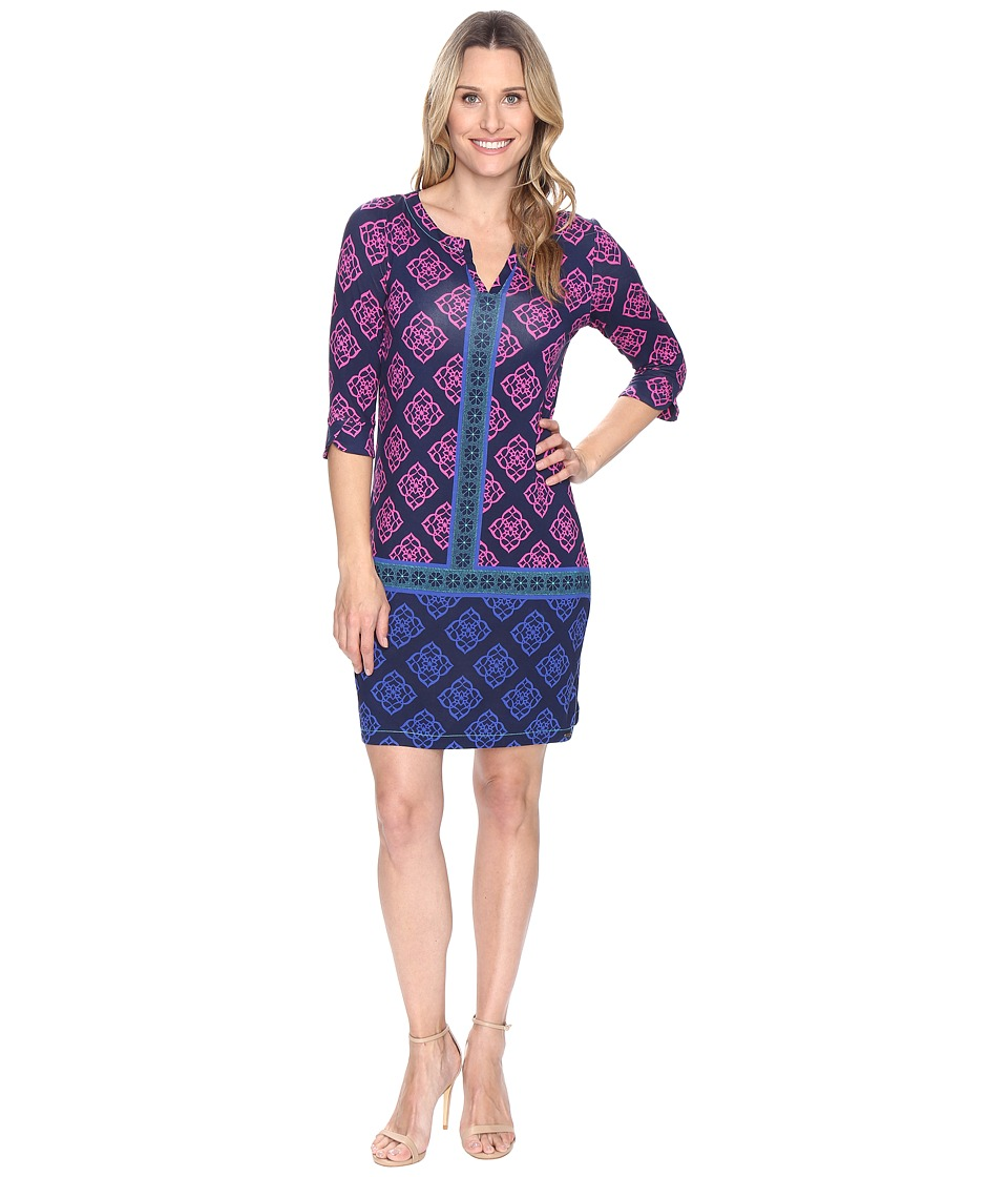 Hatley Peplum Sleeve Dress (Droplet Floral Navy/Fuchsia) Women