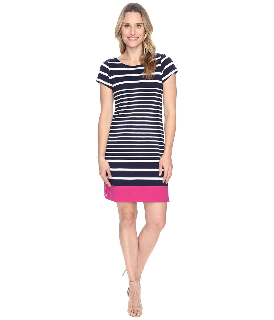 Hatley - Tee-Shirt Dress (Navy Stripe Color Block) Women's Dress