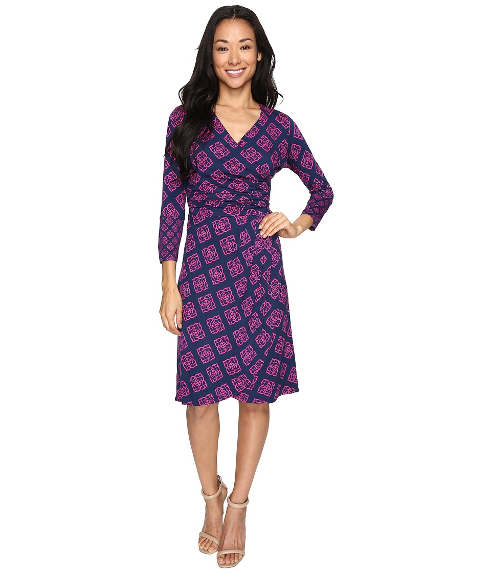 Hatley Faux Wrap Dress (Floral Droplet Navy/Fuchsia) Women