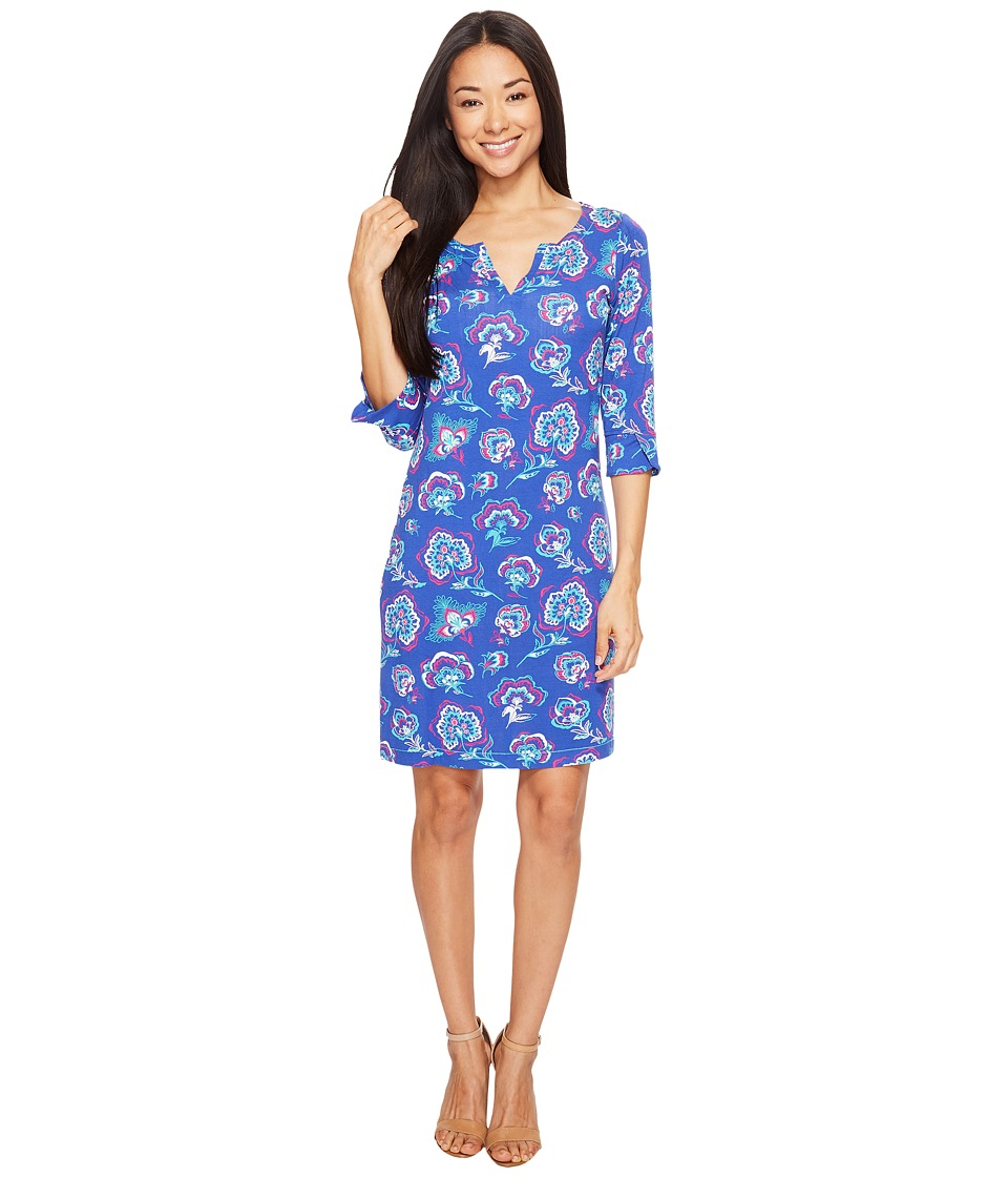 Hatley Peplum Sleeve Dress (Folk Floral Royal Blue/Fuchsia) Women