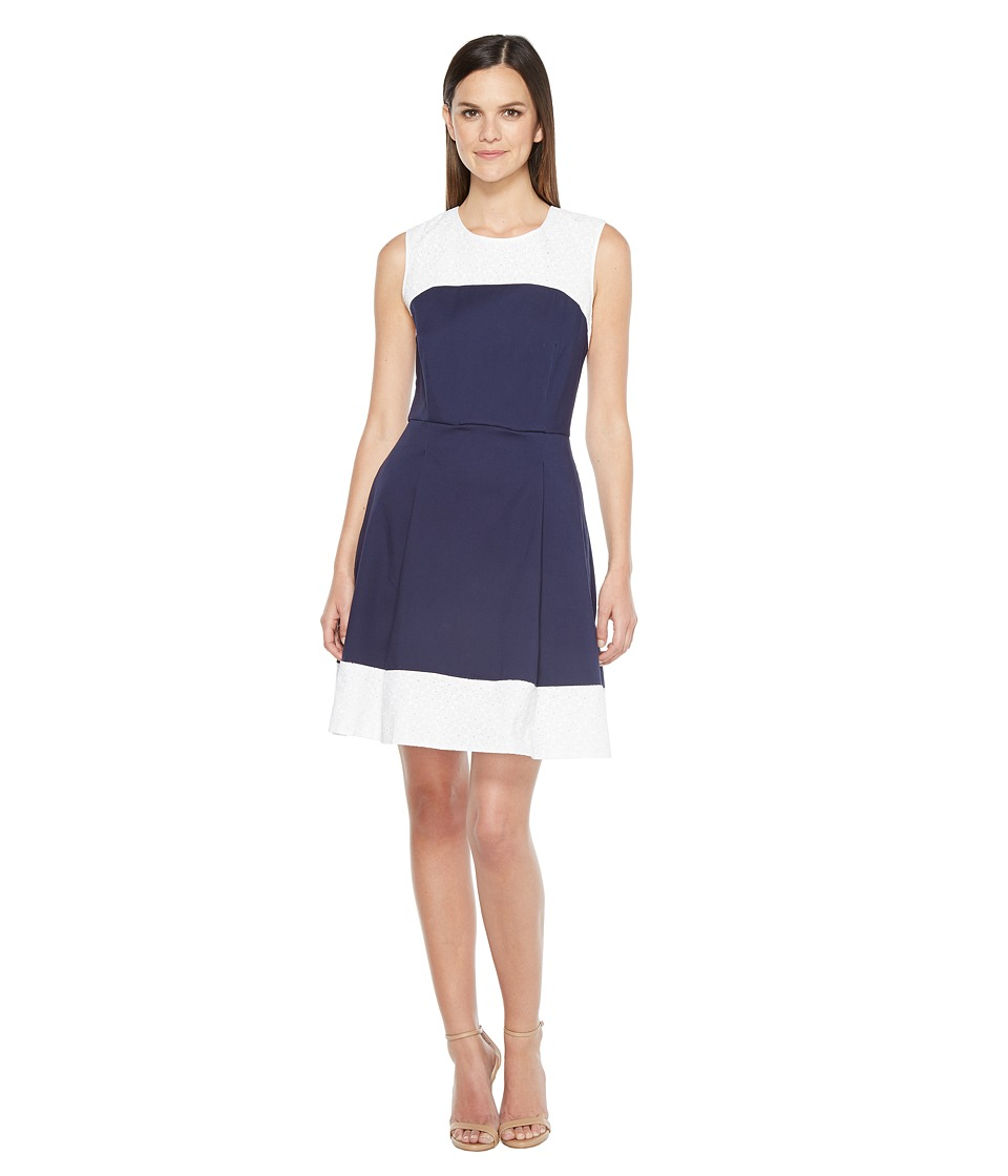 Hatley Fit and Flare Dress (Navy/White) Women