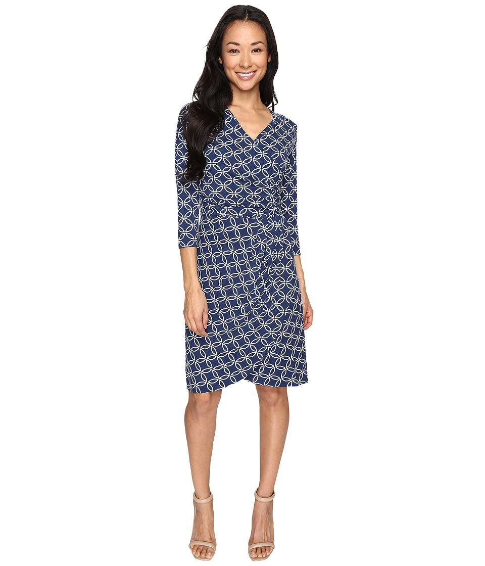 Hatley - Faux Wrap Dress (Cross Hatch Navy) Women's Dress