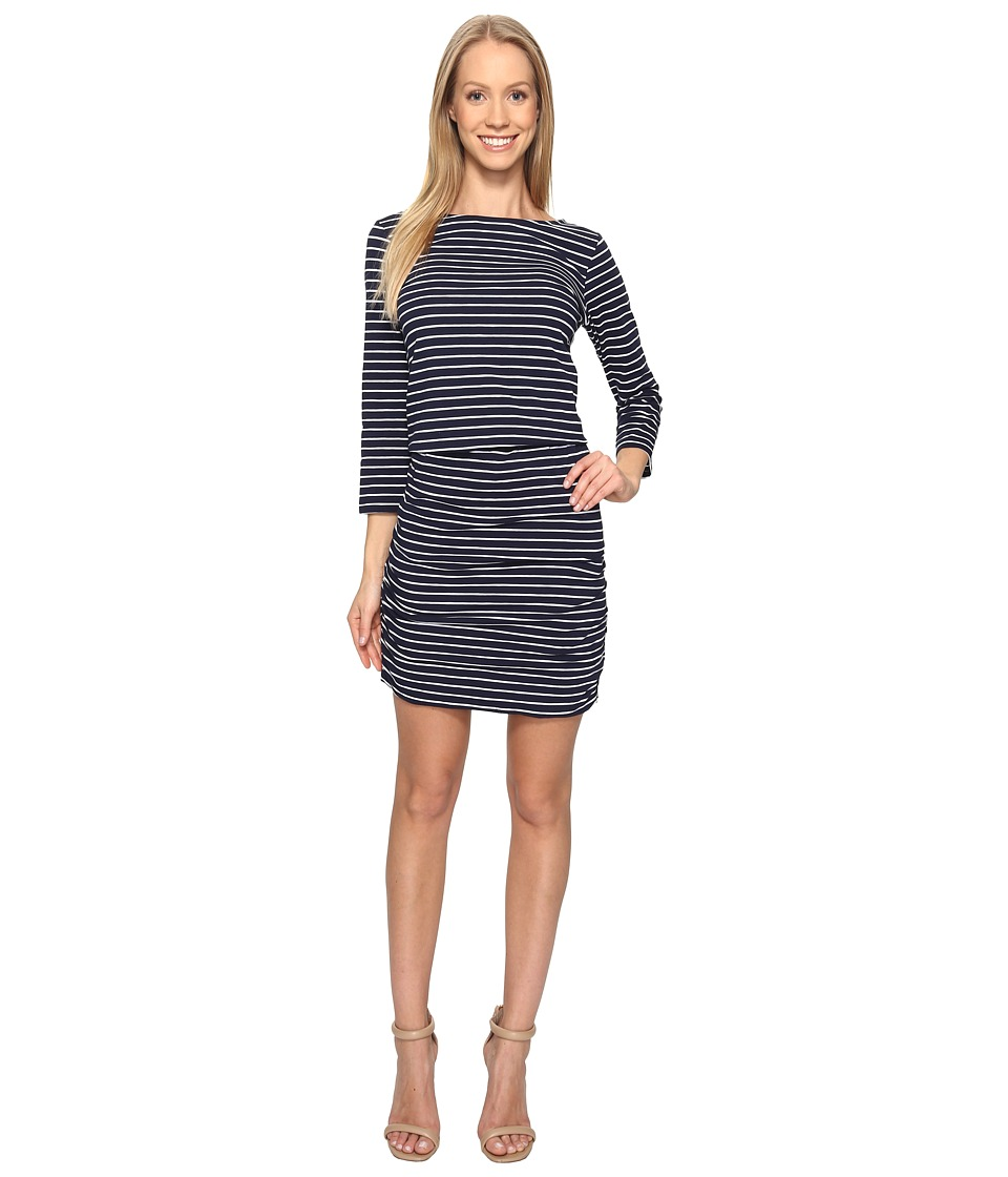 Hatley Boat Neck Ruched Dress (Navy) Women