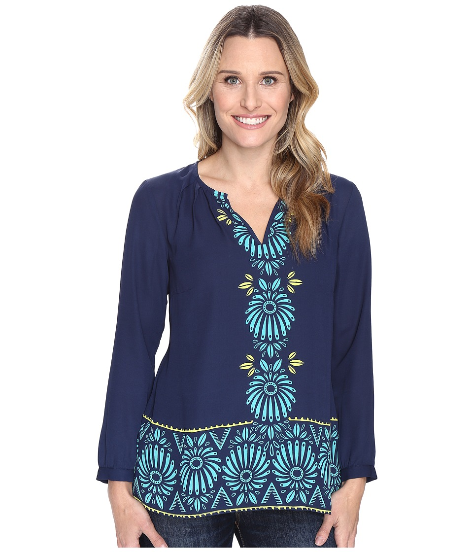 Hatley - Long Sleeve Blouse (Porcelain Floral Navy) Women's Blouse