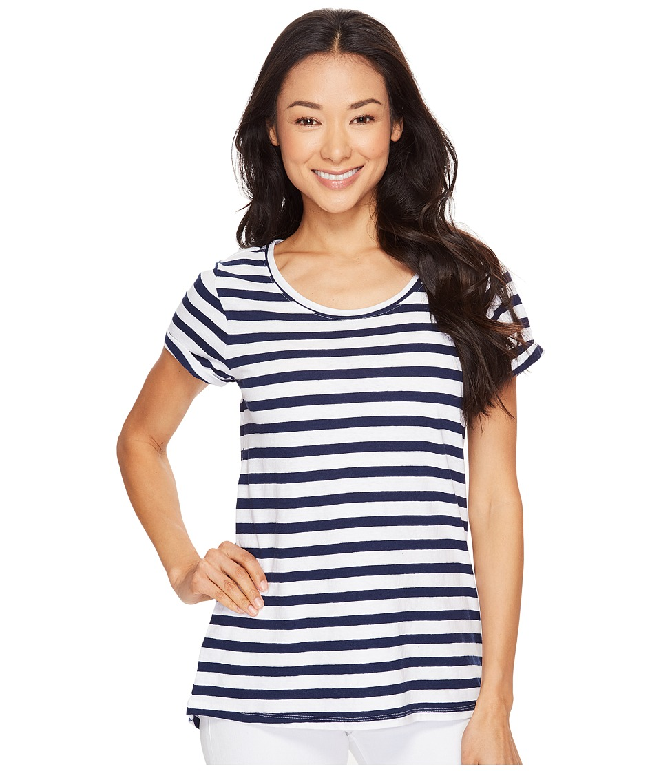 Hatley - Cotton/Linen Tee (Navy/White Stripes) Women's T Shirt