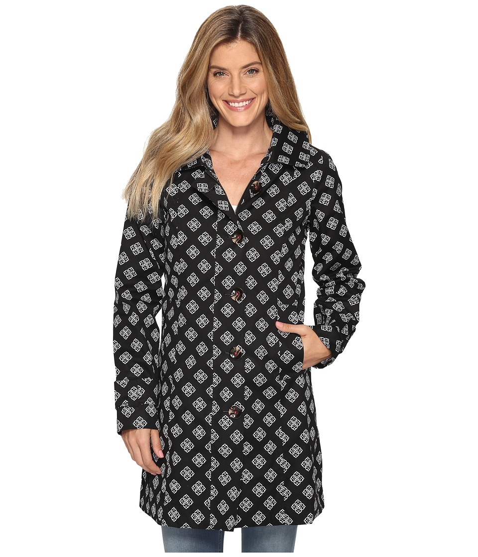 Hatley - Classic Raincoat (Floral Droplet Black/Fuchsia) Women's Coat