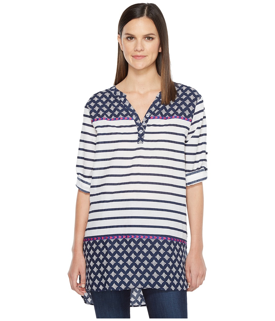 Hatley - Cotton Taped Tunic (Navy Stripes/Faded Out Chevron) Women's Clothing