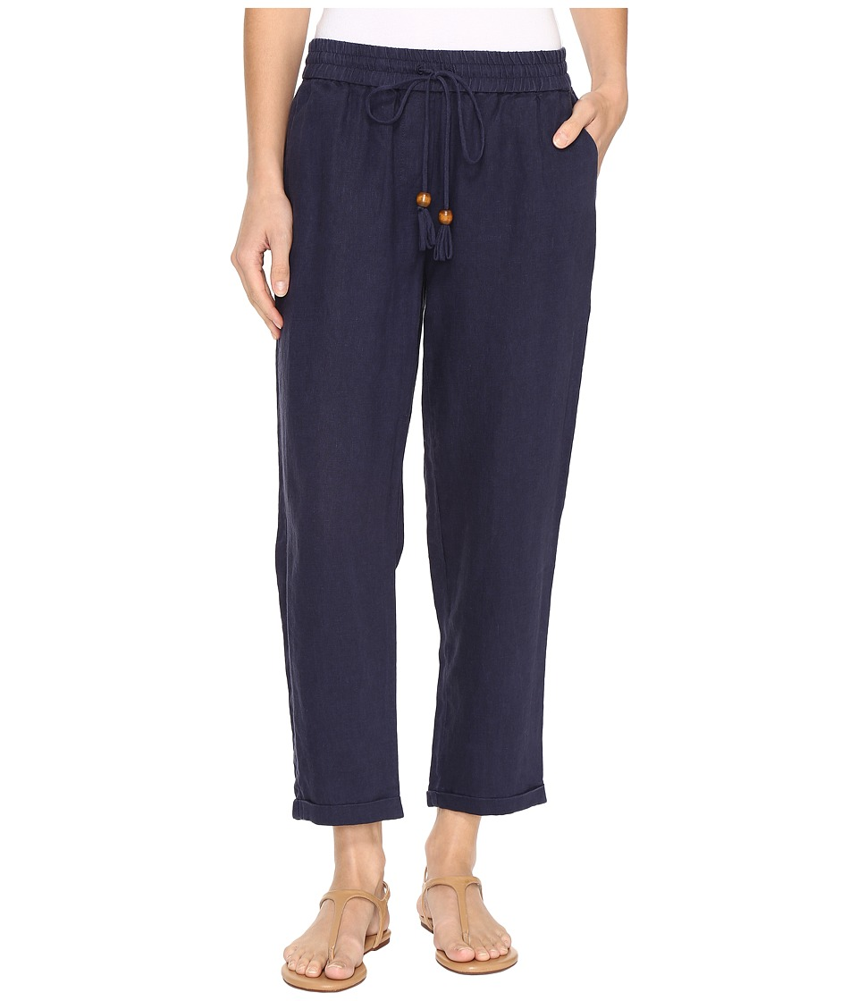 Hatley - Cuffed Cotton/Linen Pants (Navy) Women's Casual Pants