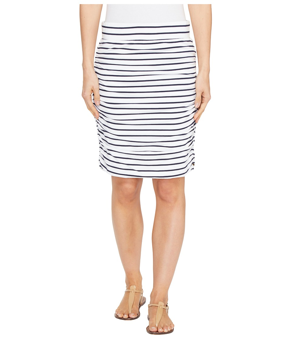 Hatley Ruched Skirt (White/Navy Stripe) Women