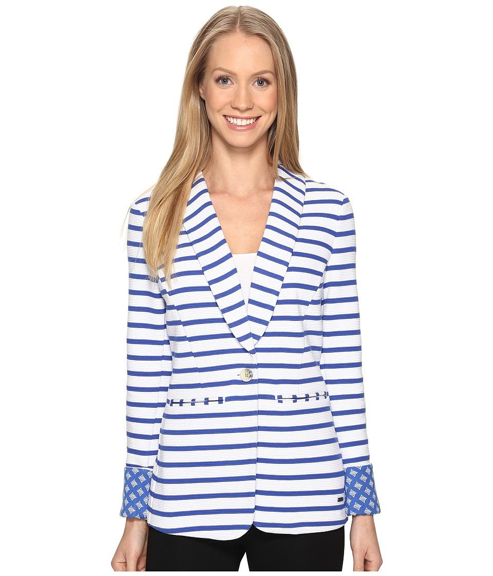 Hatley - Blazer (White/Royal Blue Stripe) Women's Jacket