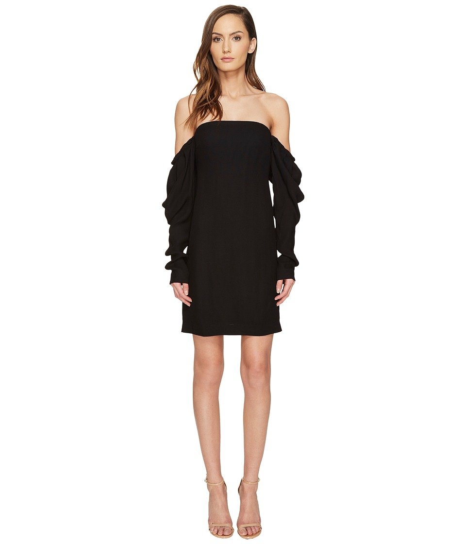 Vera Wang - Off the Shoulder Shift Dress with Draped Sleeve (Black) Women's Dress