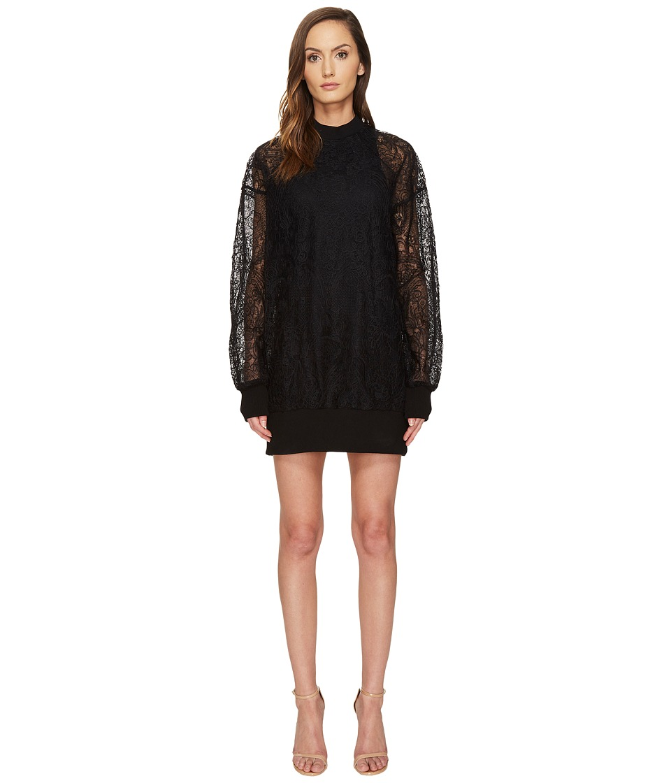 Vera Wang - Long Sleeve Sheer Tank Dress (Black) Women's Dress